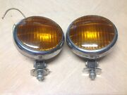Vintage Pair Fog Lamp Amber Glass Lens U.s.137 Early Automobile Truck