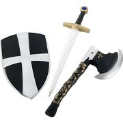 Boys Knight Fancy Dress 3 Piece Set Sword, Shield And Axe Crusader Toy By Smiffys