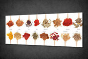Spices Collection On Spoons Kitchen Canvas Wall Art Print Picture Ready To Hang
