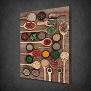 Spices Spoons Kitchen Design Canvas Wall Art Print Picture Ready To Hang