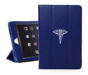 For Apple Ipad Leather Smart Stand Case Cover Medical Symbol Caduceus Physician