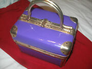 Vintage Patent Leather Box Purse-purple And Gold