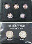 1966 Gemini Mission Series Men In Space .999 Silver Proof 7 Coin/ Medaland039s