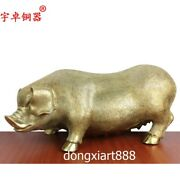42 Cm Pure Brass Chinese Zodiac Auspicious Fengshui Wealth Animal Sow Pig Statue