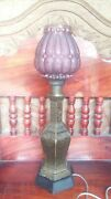 Rare Old Brass Desk Lamp, Large, Traditional With Antique Glass Cover