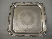 Old Vintage Wilcox Is Silver Silverplated Rochelle Epns Square Plate, 14 3/4