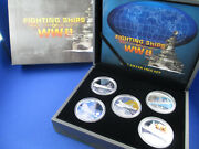 2007 1 Tuvalu Silver Proof Coin - Fighting Ships Of Ww Ii - Five Coin Set