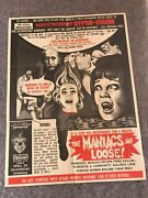 The Maniacs Are Loose 1960's Orig 1 Sheet Movie Poster 21 X 27 3/4 Vg/f Rare