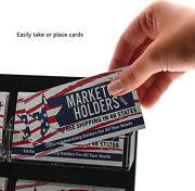 """Business Card Card Holder 12 Pocket 8""""w X 16.5""""h Clear And Black Wall Mount Qty 24"""