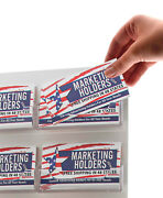 """Business Card Card Holder 16 Pocket 8""""w X 22""""h Clear And White Wall Mount Qty 24"""