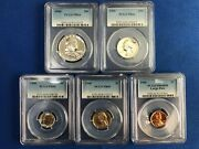 1960 Pcgs Graded Proof Set Coins Pr64 Pr66 And Pr69 Cam Nickel Large Date Penny