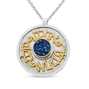 925 Sterling Silver And Gold Druze Quartz Biblical Verse Gold Round Necklace