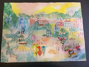 Charles Cobelle Original Park Fountain Water Color Painting 23 X 31 Signed