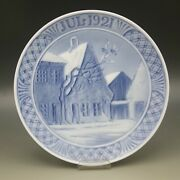 Antique Royal Copenhagen 1921 Christmas Plate Town Square Of Aabenraa