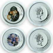 2007 Cook Islands Sherlock Holmes Coins Of The Movies Silver.999 Colored Boxandcoa