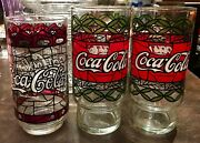 1970's Vintage Coca-cola Style Stained Glass Tumblers Lot Of 3