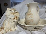 """Beautiful Alaskan Clay Pottery 8"""" Cat With Pitcher And Bowl"""