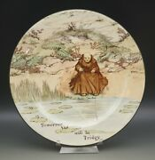 Antique Royal Doulton Monks And Mottoes Monk Fishing Rack Plate 10 C.1915