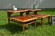 Pair Of Lane Mid-century Modern Dovetailed Inlaid Step Side / End Tables 0900-07