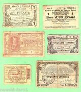 D209. Six6 Wwi German Occupation Western Front Area Banknotes