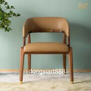 Brass Black Walnut Solid Wood Furniture Leather Coffee House Room Leisure Chairs