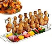 Stainless Steel Chicken Wing Leg Rack Grill Holder With Drip Pan For Cooking Bbq