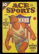 Ace Sports Pulps June 1936-george Gross Olympics Cover Vg