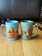 Disney Theme Parks Lot Of 2 Winnie The Pooh And Tigger 3d Molded Coffee Mugs