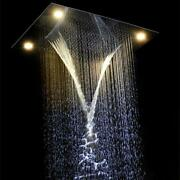 23 X 31 Rectangle Ceiling 4 Function Led Shower Head Stainless Steel Polished