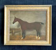 19th Century Oil Painting Of A Horse In A Stable F. Clifton 1884