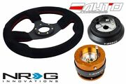 Nrg 320mm 1.5 D Race Suede Steering Wheel Red St 120h Hub 2.0 Rose Gold Release
