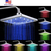 Led Square 8 Inch Rainfall Shower Head Brushed Nickel Sprayer 7 Colors Change