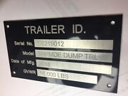 Custom Engraved 4 Line Trailer Data Id Plate Tag Serial Number
