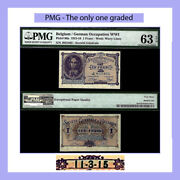 The Only 1 Graded Belgium P86a 1915 Wwi German Occupation Pmg Unc 63 Epq