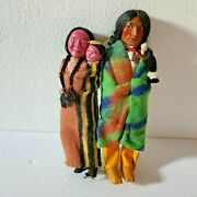 Vintage 50s Skookum Indian Dolls Man And Woman W Baby 12 Tall Native Trade Wool
