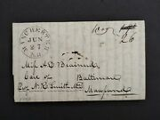 New Hampshire Manchester 1843 Stampless Cover, Way 26 To Baltimore