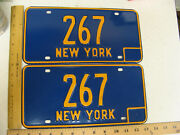 1966 66 - 1973 73 New York Ny License Plate Pair Three Digit - Low Number 267