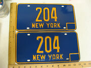 1966 66 - 1973 73 New York Ny License Plate Pair Three Digit - Low Number 204