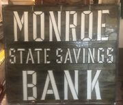 Antique 1905 Monroe State Savings Bank Stained Glass Window.