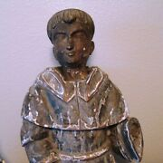 Antique Saint Anthony 24 Colonial Santos Statue, 19th Century, Carved Wood