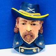 Bosson Legend Chalkware Face Bust Figurine Wall Hanging General Custer Signed 84