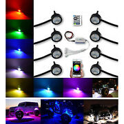 Multi-color Changing Led Rgb Smd Rock Light Bluetooth Set Of 8 For Jeep Truck