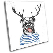 Hipster Urban Dog Pug Stag Deer Vintage Single Canvas Wall Art Picture Print
