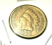 1898 Indian Head Bronze Cent--120 Years Old- Variety Iii