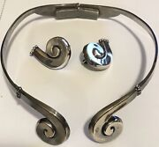 Signed Margot De Taxco Sterling Silver Matching Clamper Necklace And Earrings Set