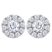 1/2cttw Round Diamond Halo Stud Earrings In 14k White Gold Christmas Special