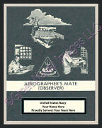 Aerographerand039s Mate Observer Rate Print 1 Personalized On Canvas Us Navy