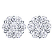1.00 Cttw Round Diamond Cluster Stud Earrings 14k White Gold Christmas Special