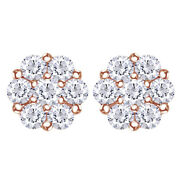 1.00 Cttw Round Diamond Cluster Stud Earrings In 14k Rose Gold Christmas Special