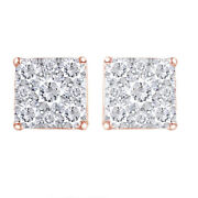 1 Ctw Diamond Square Screwback Stud Earrings In 14k Rose Gold Christmas Special